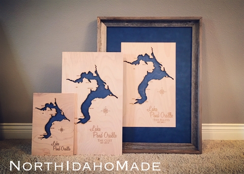"Lake Pend Oreille, Idaho shown in 8""x12"", 12""x20"", and barn wood framed 21""x27"""