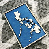 Philippines Wood Map in 3-D