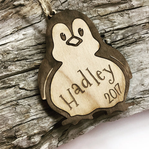 Penguin Personalized Wood Christmas Ornament