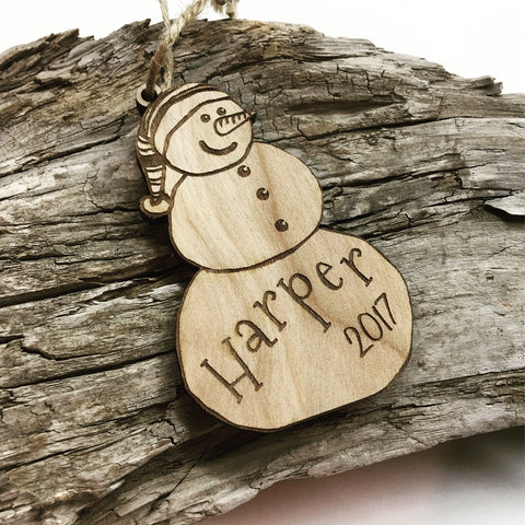 Snowman Personalized Wood Christmas Ornament