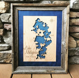 Lake Metigoshe, North Dakota - Custom Engraved 3-D Wood Map Wall Hanging