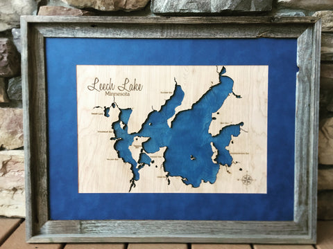 Leech Lake, Minnesota Custom Engraved 3-D Wood Map Wall Hanging