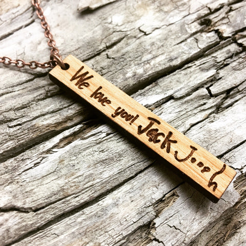 Personalized Custom Handwriting Vertical Bar Cherry Wood Necklace