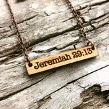 Personalized Horizontal Cherrywood Bar Necklace