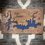 Lake Amistad Texas Custom Engraved 3-D Wood Wall Hanging