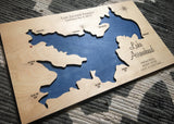 Lake Arrowhead, California Custom Engraved 3-D Wood Map Wall Hanging