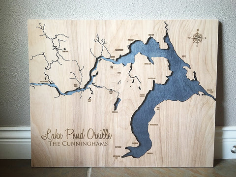 Lake Pend Oreille Engraved Map