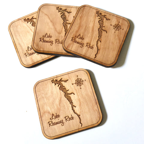 SET OF 4 Wood Coasters - Lake Roaming Rock, Ohio