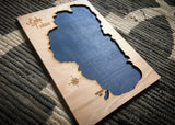 Lake Tahoe, California Custom Engraved 3-D Wood Map Wall Hanging
