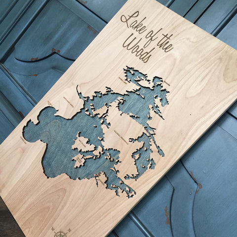Lake of the Woods, Canada - 3-D Wood Map