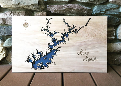 Lake Lanier, Georgia Custom Engraved 3-D Wood Map Wall Hanging