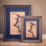 Barnwood Framed Lake Coeur D'Alene, Idaho Custom Engraved 3-D Wood Map Wall Hanging
