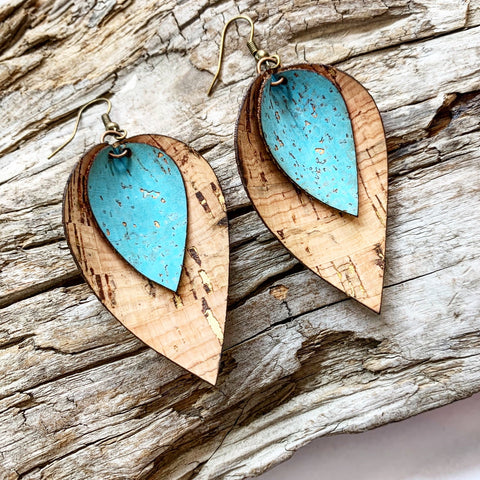 Double Leaf Earrings - Gold Fleck Natural and Aqua Cork