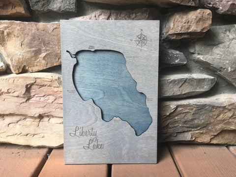 Liberty Lake, Washington - Custom Engraved 3-D Wood Map Wall Hanging