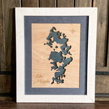 Coeur d'Alene Lake, Idaho - Custom Engraved 3-D Wood Map Wall Hanging