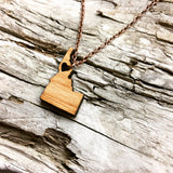Salmon River Idaho State Wood Necklace