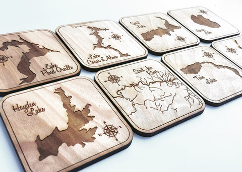 Set of 8 Wood Coasters - Mix & Match