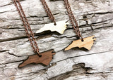 North Carolina State Wood Necklace