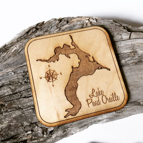 IN STOCK - Limited Quantities - Lake Pend Oreille Wood Coaster