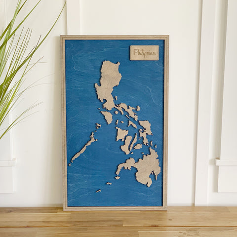 Grey Philippines Wood Map