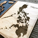 Philippines - Single Layer Engraved Wood Map