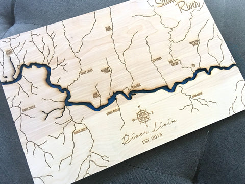 St Joe River Idaho 3d River Engraved Wood Map North Idaho Made