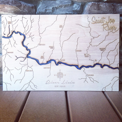 3 D Engraved Maps Tagged St Joe River North Idaho Made