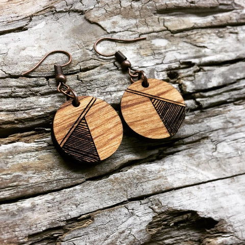Round Geometric Triangle Engraved Wood earrings