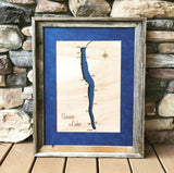 Seneca Lake, New York Wood Map