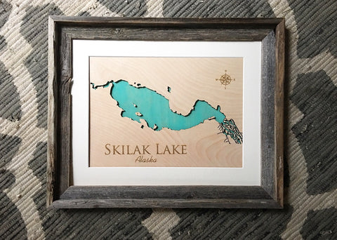 Skilak Lake, Alaska Custom Engraved 3-D Wood Map Wall Hanging