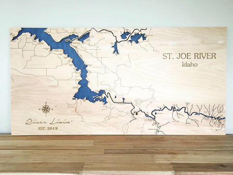 St Joe River Map with Roads - 16x32""