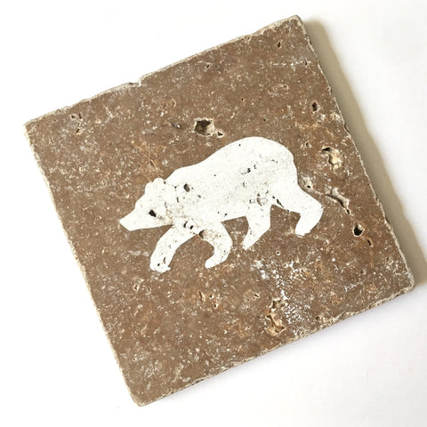Bear Engraved Stone Coaster