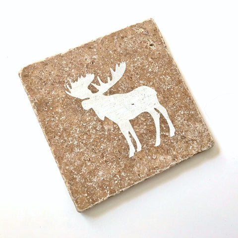 Engraved Moose Stone Coaster