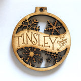 Tanner & Cassie or Any Two Custom Names Engraved - Custom Christmas Ornament