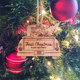 Vintage Christmas Truck Engraved Wood Ornament