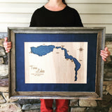 Hyco Lake, North Carolina Custom Engraved 3-D Wood Map Wall Hanging