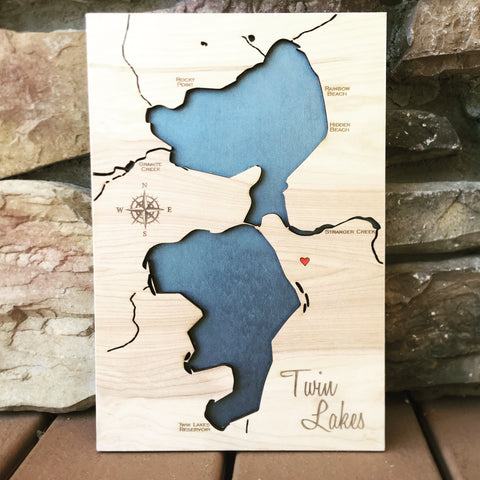 Twin Lakes, Inchelium Washington 3-D Wood Lake Map