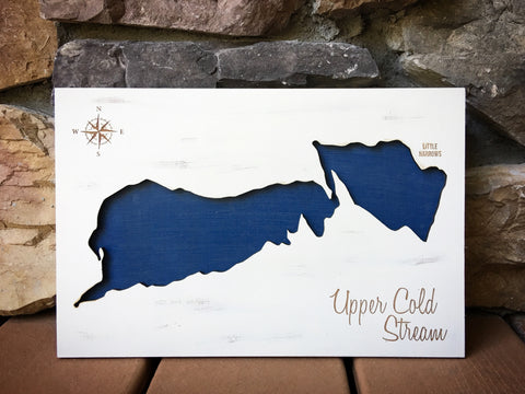 Upper Cold Stream Lake, Maine Engraved 3-D Wood Map