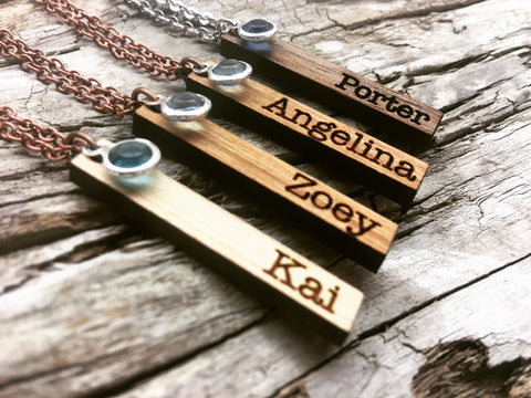 Vertical Bar Name Necklace with Birthstone