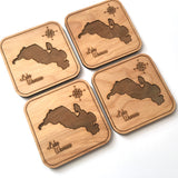 SET OF 4 Wood Coasters - Lake Wawasee, Indiana