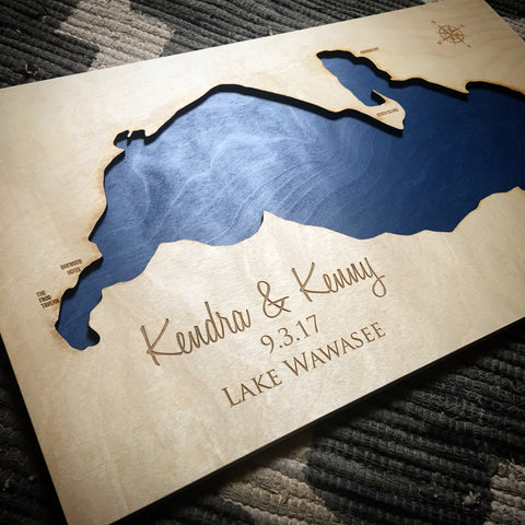Lake Wawasee Indiana Custom Engraved 3-D Wood Wall Hanging