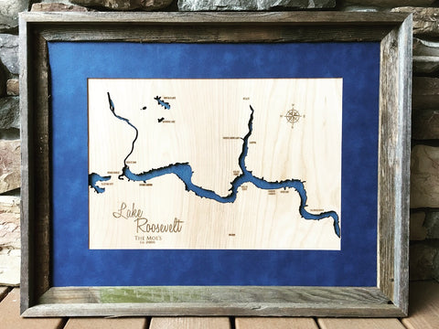 Lake Roosevelt West, Washington 3D lake and river engraved wood map