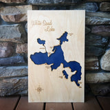 White Sand Lake, Wisconsin Custom Engraved 3-D Wood Map Wall Hanging
