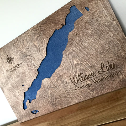 Williams Lake, Cheney Washington - Custom Engraved 3-D Wood Map Wall Hanging