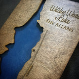 Witches Woods Lake, Connecticut Custom Engraved 3-D Wood Map Wall Hanging