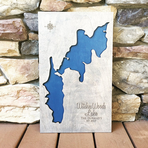 Witches Woods and Upper Bungee Lake, Connecticut Custom Engraved 3-D Wood Map Wall Hanging