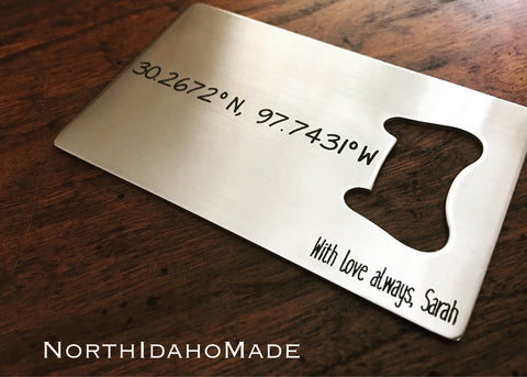 GPS Coordinates Stainless Steel Credit Card Sized Bottle Opener