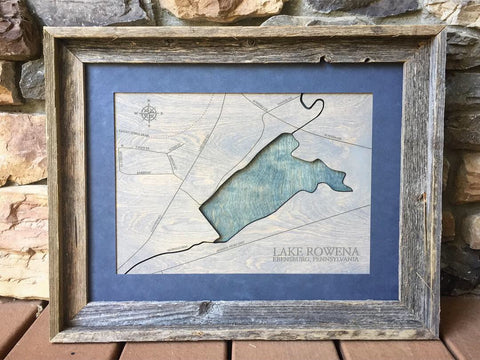Lake Rowena, Pennsylvania - Custom Engraved 3-D Wood Map Wall Hanging