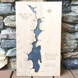 Priest Lake, Idaho Custom Engraved 3-D Wood Map Wall Hanging