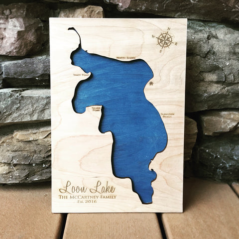 Loon Lake, Washington - Custom Engraved 3-D Wood Map Wall Hanging